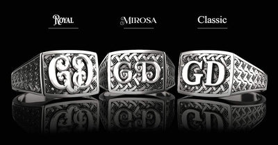Classic Rectangle Silver Signet Ring - Custom Two Initials - Girati Silver Rings for Men