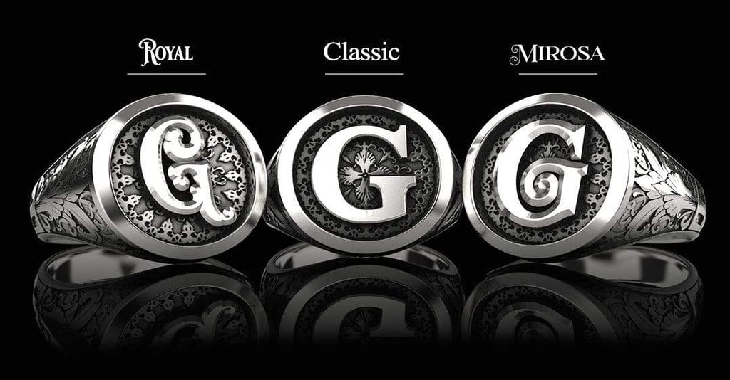 Classic Round Signet Silver Ring - Custom Single Initial