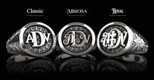 Classic Round Signet Silver Ring - Custom Three Initials
