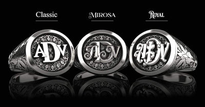 Classic Round Signet Silver Ring - Custom Three Initials - Girati Silver Rings for Men