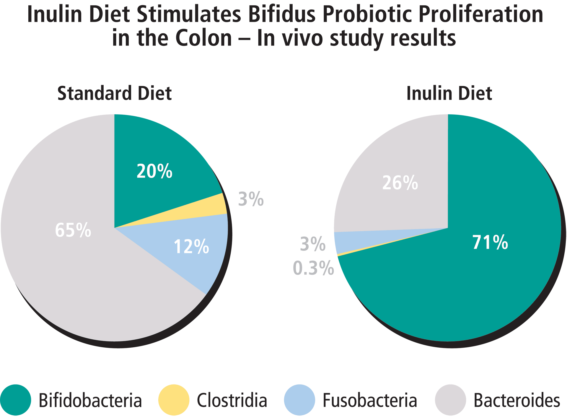 Inulin diet stimulates bifidus probiotic proliferation in the colon.