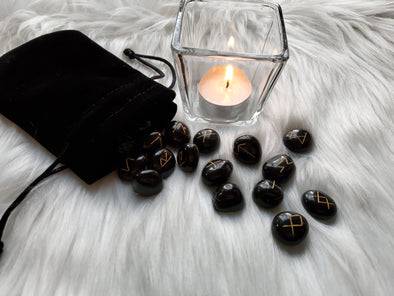 BLACK AGATE RUNES SET