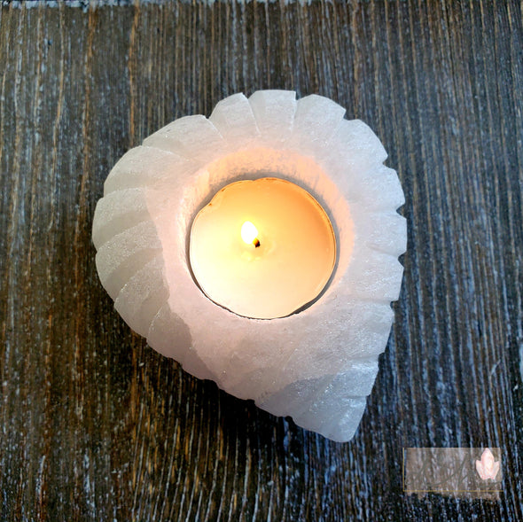 SELENITE HEART SHAPED CANDLE HOLDER