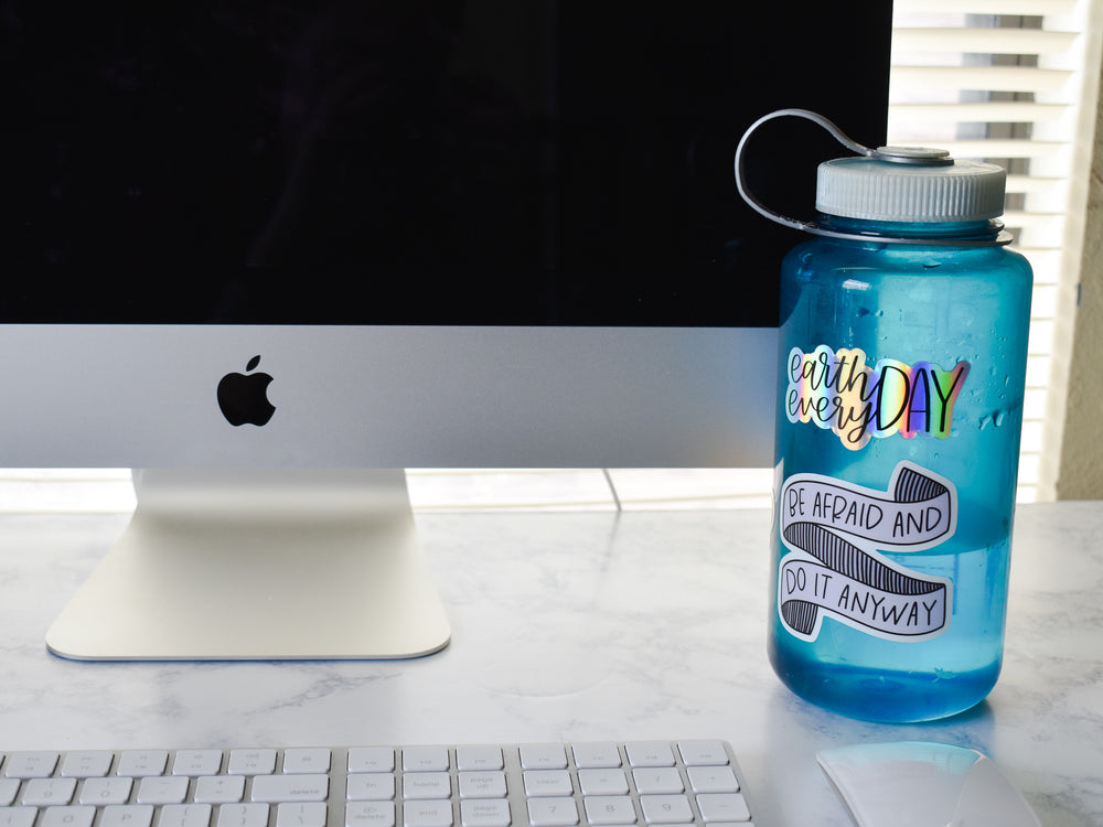 Earth Day Every Day Holographic Rainbow Sticker for Nalgene Water Bottle