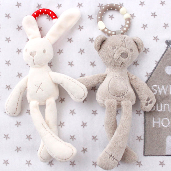 Soft Crib Stroller Toy Bunny or Bear Hanging Toy Teething Ring