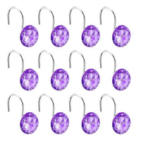 12PCS Crystal Gem Shower Curtain Hooks - Nine colours