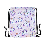 Unicorn Print Drawstring Backpack / Library Bag / Swimming Bag