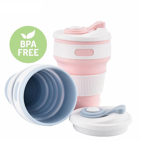 Folding Silicone Telescopic Collapsible Coffee Cup - 6 colours