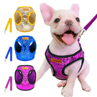 Bling Sequins Small Cat Dog Adjustable Harness and Lead Set - 3 colours / 3 sizes