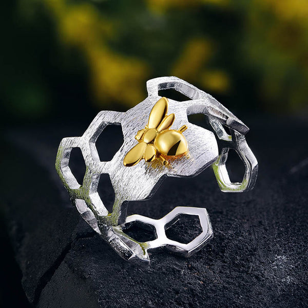 Sterling Silver Honeycomb Ring with Gold Plated Bee