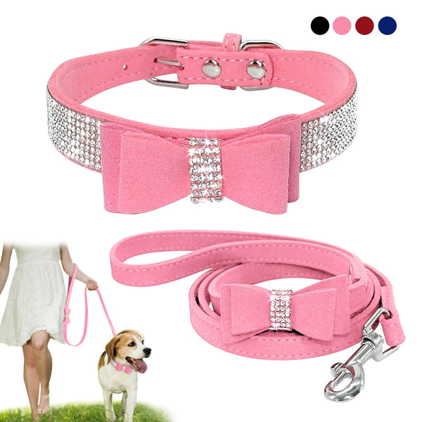 Bling Bowknot Leather Rhinestone Pet Collar and Lead - 4 colours / sizes