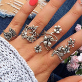 Antique Silver Look Flower Ring Set - 4 piece - open size
