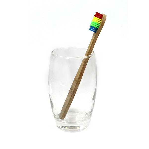 Colorful Head Rainbow Bamboo Toothbrush With Soft Bristle