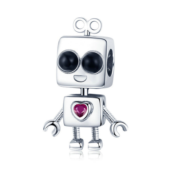 Sterling Silver Robot Charm with Crystal - Boy or Girl