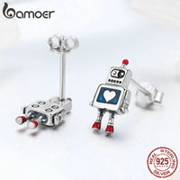 Mini Robot Stud Earrings - Sterling Silver & Enamel