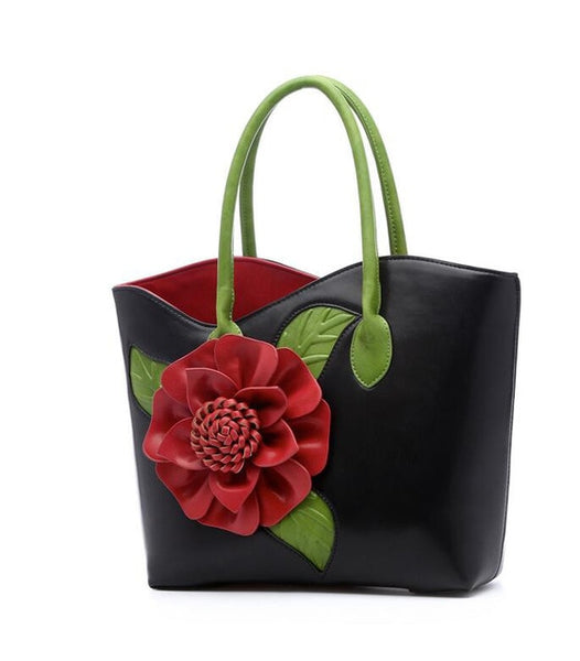 Leather Retro-style Flower Tote Bag / Handbag - 6 colours