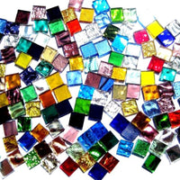 Square Glass Mosaic Tiles 10x10mm - 100g pack Assorted Colour