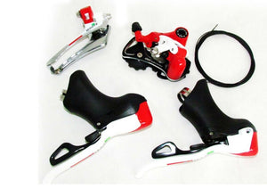 MICROSHIFT DOUBLE 10 SPEED WHITE-RED GROUPSET