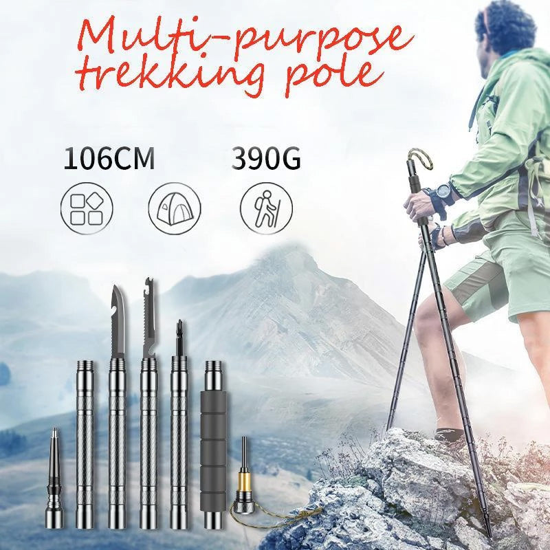 Carbon steel multi-purpose trekking pole,Buy two free shipping