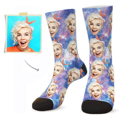 Custom Galaxy Face Socks - Put Any Face On Socks - Personalized Gift