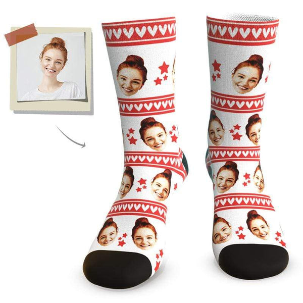 "MyPicSocks Custom Face Socks L (Women's 12+ / Men's 10-13) ""BEST HER"" Face Socks - Best Personalized Gifts For Girlfriend"