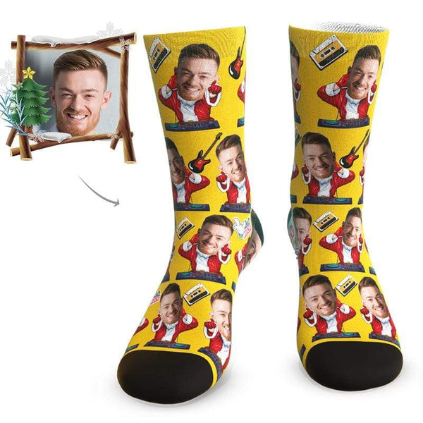 MyPicSocks Custom Face Socks L (Women's 12+ / Men's 10-13) Christmas Music Facesocks - Best Personalized Christmas Gifts