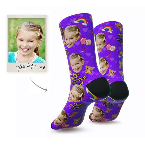 MyPicSocks Custom Face Socks S (Women's 4-8) Custom Best Daughter Face Socks - Personalized Gifts For Daughter