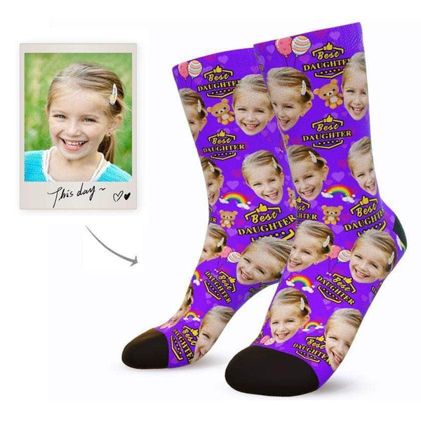 MyPicSocks Custom Face Socks M (Women's 9-12 / Men's 7-10) Custom Best Daughter Face Socks - Personalized Gifts For Daughter