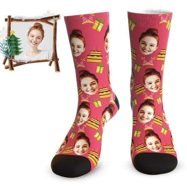 MyPicSocks Custom Face Socks Custom Birthday Cake Face Socks - Best Personalized Birthday Gifts