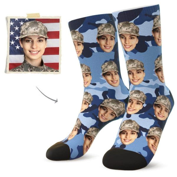 MyPicSocks Custom Face Socks Camo7 / L (Women's 12+ / Men's 10-13) Custom Camo Face Socks - Best Gifts For Soldiers