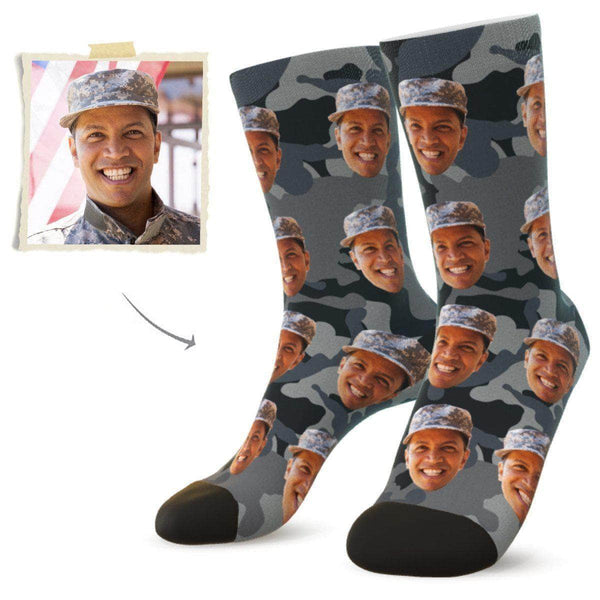 MyPicSocks Custom Face Socks Camo17 / L (Women's 12+ / Men's 10-13) Custom Camo Face Socks - Best Gifts For Soldiers