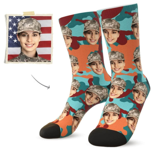 MyPicSocks Custom Face Socks Camo20 / L (Women's 12+ / Men's 10-13) Custom Camo Face Socks - Best Gifts For Soldiers