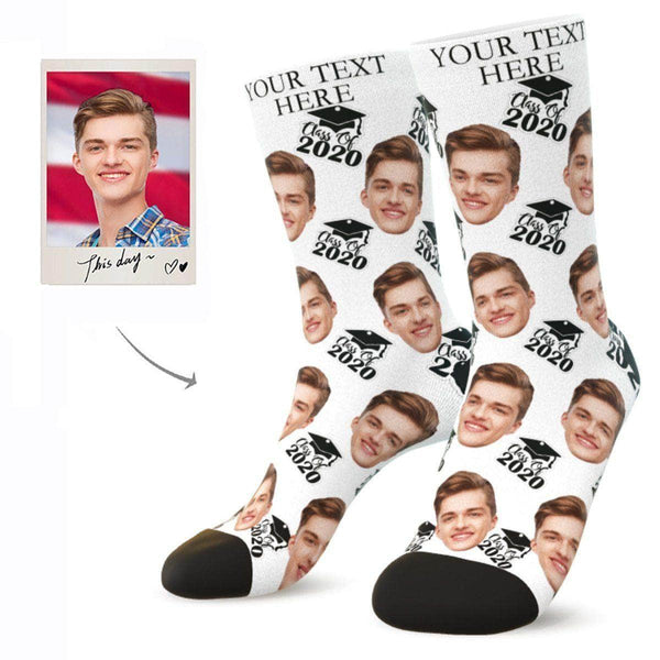MyPicSocks Custom Face Socks L (Women's 12+ / Men's 10-13) Custom Class Of 2020 Face Socks - Best Personalized Gifts For Graduation Party