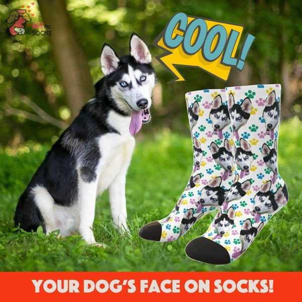MyPicSocks Custom Face Socks Custom Dog Face Socks (Colorful Footprint) - Best Gifts For Dog Lovers