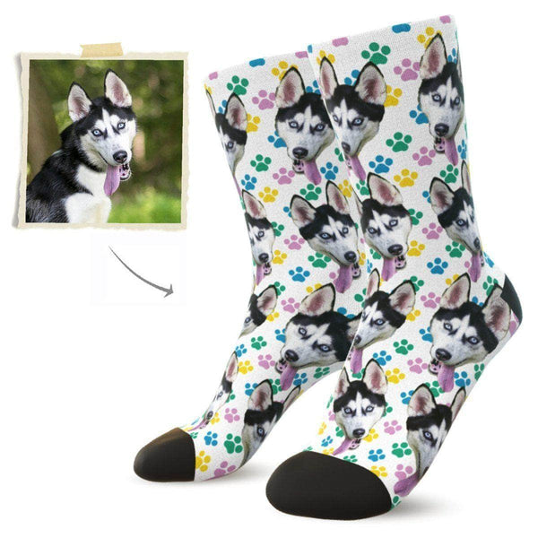 MyPicSocks Custom Face Socks L (Women's 12+ / Men's 10-13) Custom Dog Face Socks (Colorful Footprint) - Best Gifts For Dog Lovers