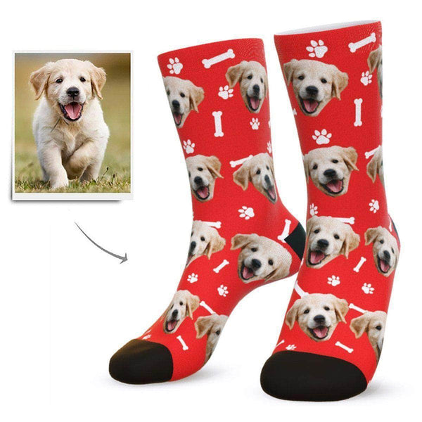MyPicSocks Custom Face Socks Red / L (Women's 12+ / Men's 10-13) Custom Dog Face Socks - Gifts For Dog Lovers