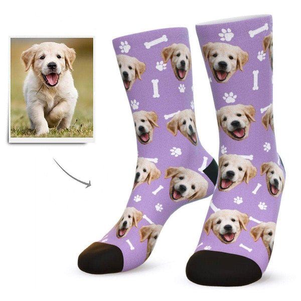 MyPicSocks Custom Face Socks Purple / L (Women's 12+ / Men's 10-13) Custom Dog Face Socks - Gifts For Dog Lovers