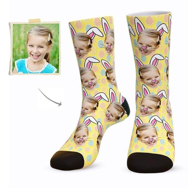 MyPicSocks Custom Face Socks YELLOW / L (Women's 12+ / Men's 10-13) Custom Easter Bunny Face Socks - Best Gifts To Make This Easter Special