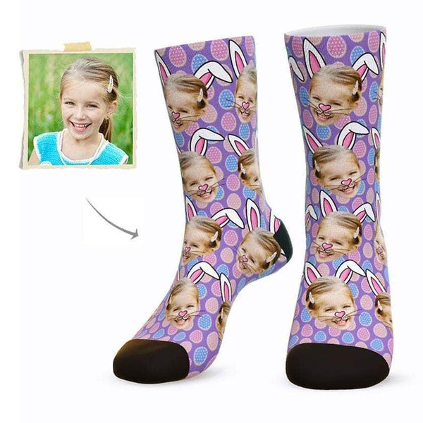 MyPicSocks Custom Face Socks PURPLE / L (Women's 12+ / Men's 10-13) Custom Easter Bunny Face Socks - Best Gifts To Make This Easter Special