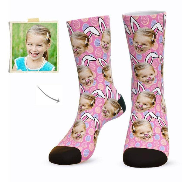 MyPicSocks Custom Face Socks PINK / L (Women's 12+ / Men's 10-13) Custom Easter Bunny Face Socks - Best Gifts To Make This Easter Special