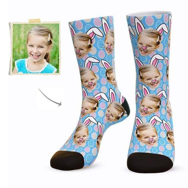 MyPicSocks Custom Face Socks BLUE / L (Women's 12+ / Men's 10-13) Custom Easter Bunny Face Socks - Best Gifts To Make This Easter Special
