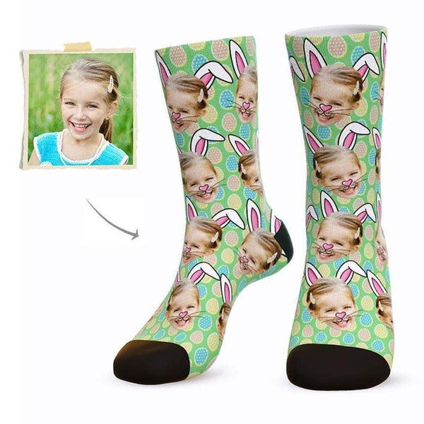 MyPicSocks Custom Face Socks GREEN / L (Women's 12+ / Men's 10-13) Custom Easter Bunny Face Socks - Best Gifts To Make This Easter Special