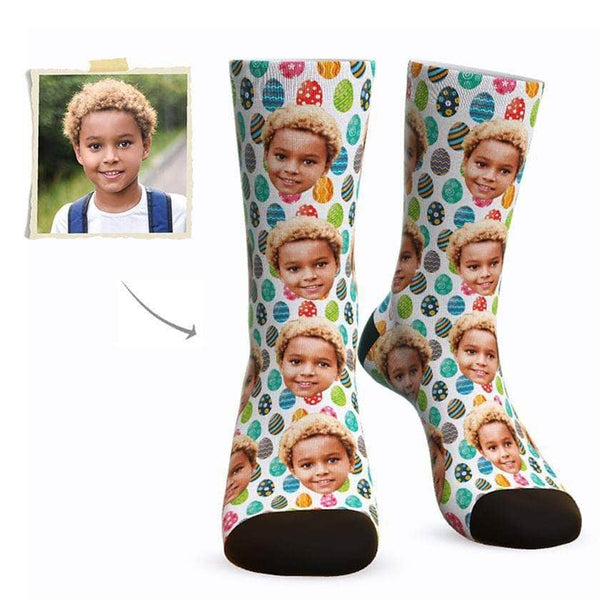 MyPicSocks Custom Face Socks L (Women's 12+ / Men's 10-13) Custom Easter Eggs Face Socks - Best Gifts To Make This Easter Special