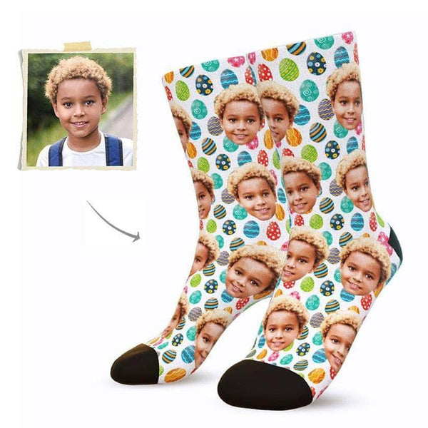 MyPicSocks Custom Face Socks M (Women's 9-12 / Men's 7-10) Custom Easter Eggs Face Socks - Best Gifts To Make This Easter Special