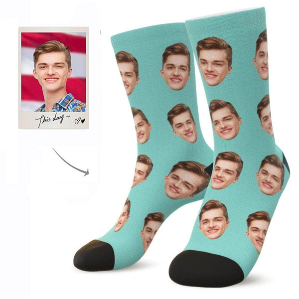MyPicSocks Custom Face Socks LIGHT GREEN / L (Women's 12+ / Men's 10-13) Custom Facesocks - Put Your Loved One's Face On Socks