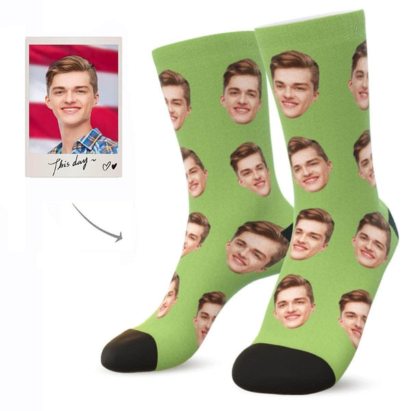 MyPicSocks Custom Face Socks GREEN APPLE / L (Women's 12+ / Men's 10-13) Custom Facesocks - Put Your Loved One's Face On Socks