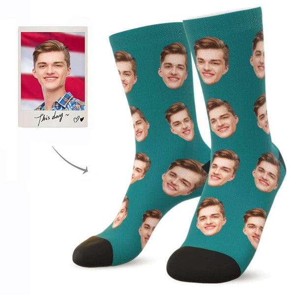 MyPicSocks Custom Face Socks TEAL / L (Women's 12+ / Men's 10-13) Custom Facesocks - Put Your Loved One's Face On Socks