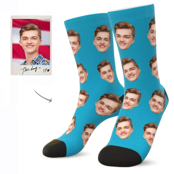 MyPicSocks Custom Face Socks AQUA / L (Women's 12+ / Men's 10-13) Custom Facesocks - Put Your Loved One's Face On Socks