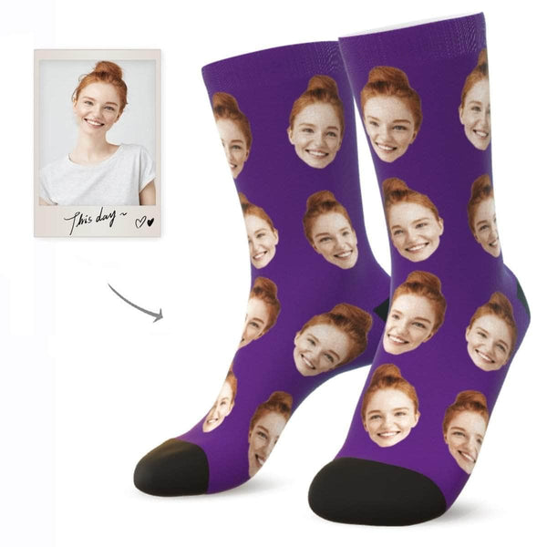 MyPicSocks Custom Face Socks PURPLE / L (Women's 12+ / Men's 10-13) Custom Facesocks - Put Your Loved One's Face On Socks