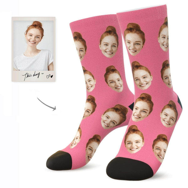 MyPicSocks Custom Face Socks PINK / L (Women's 12+ / Men's 10-13) Custom Facesocks - Put Your Loved One's Face On Socks